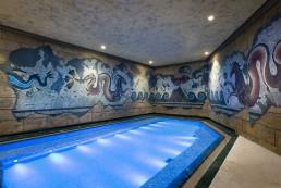 Wasserpark suntago Wandmalerei, Deckenmalerei, Illusionsmalerei, Mosaik